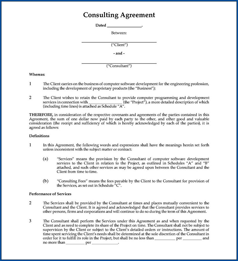 Sample of Business Consultant Contract Agreement Template