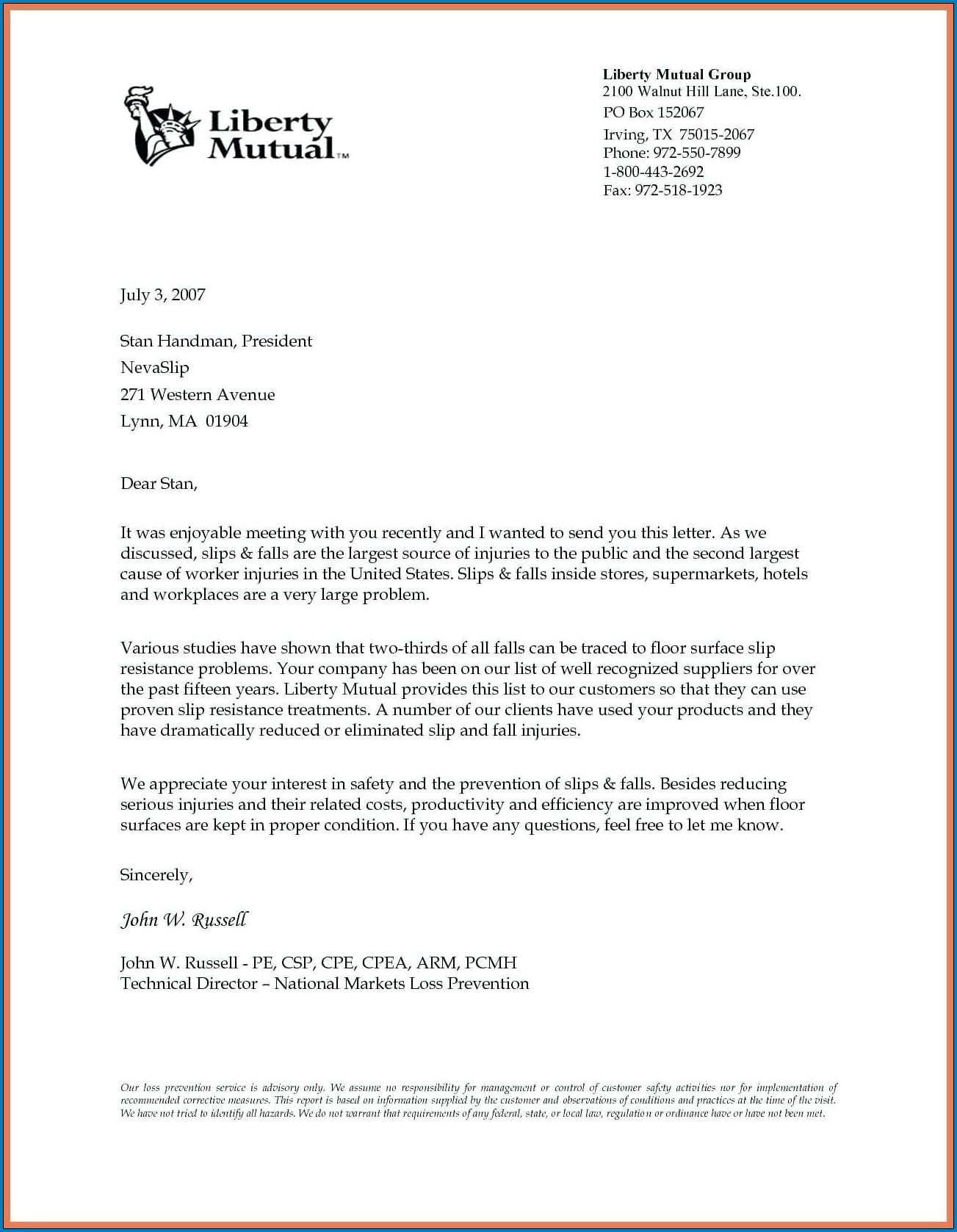 Sample of Business Letter Template