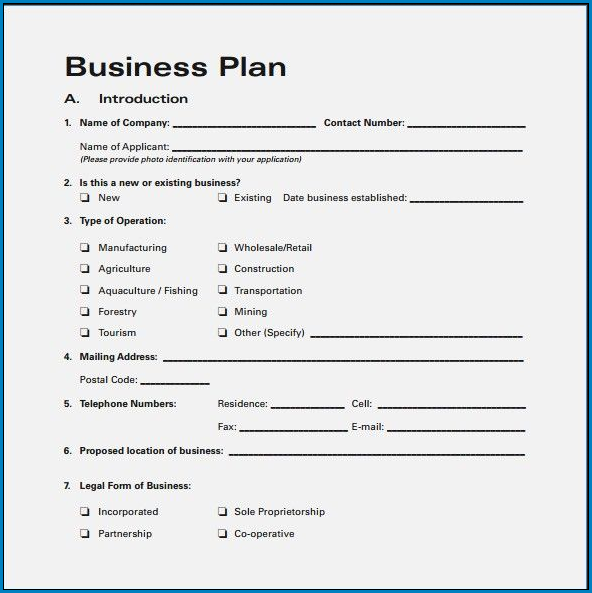 Sample of Business Plan Template Word