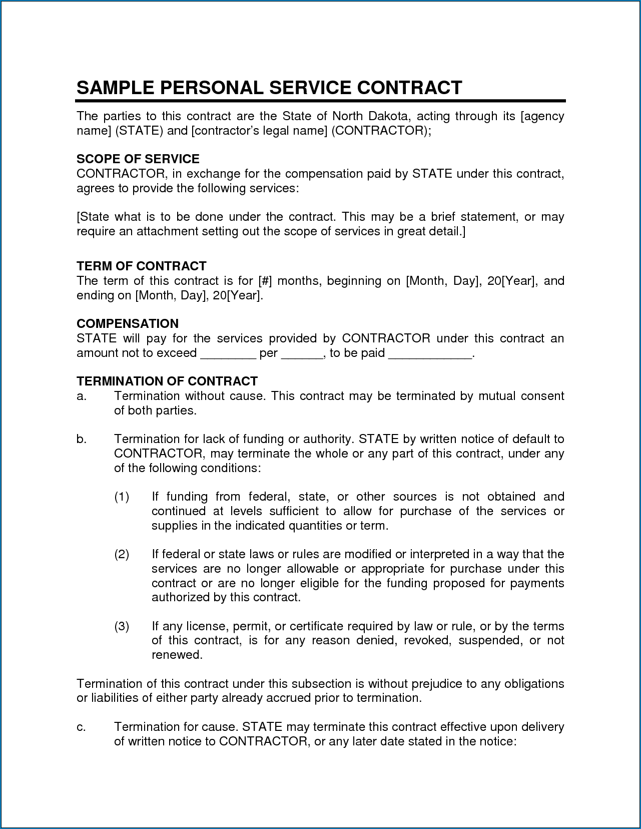 Sample of Business Services Contract Template