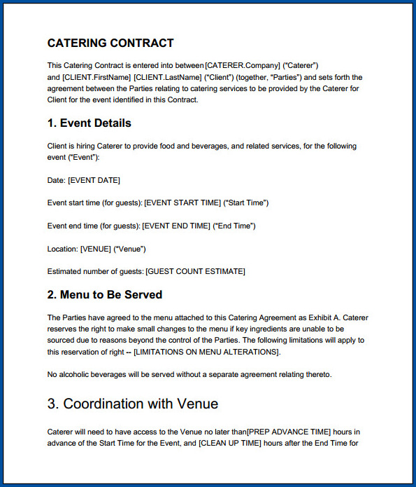 Sample of Catering Contract For An Event