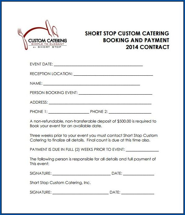 Sample of Catering Contract Template