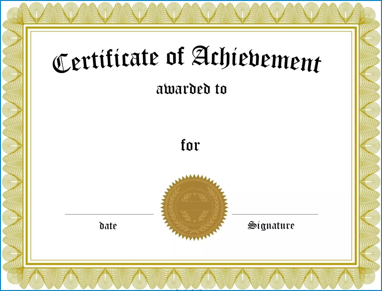 Sample of Certificate Of Achievement Template
