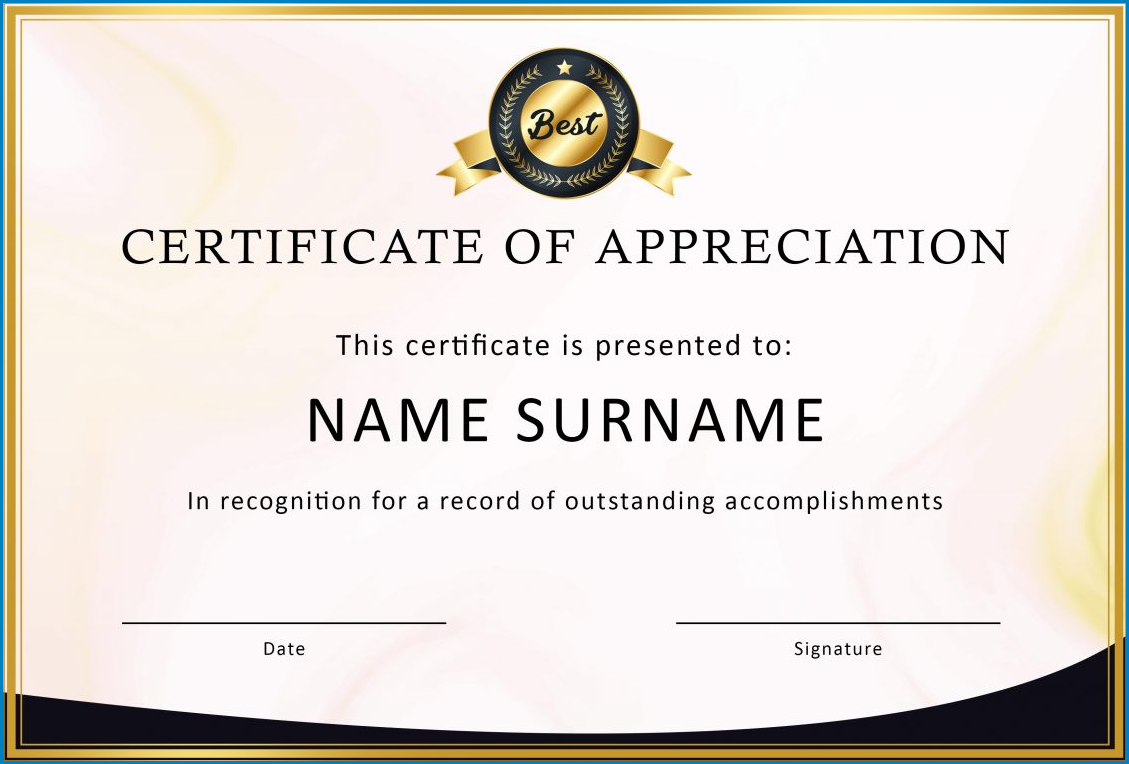 Sample of Certificate Of Appreciation Template