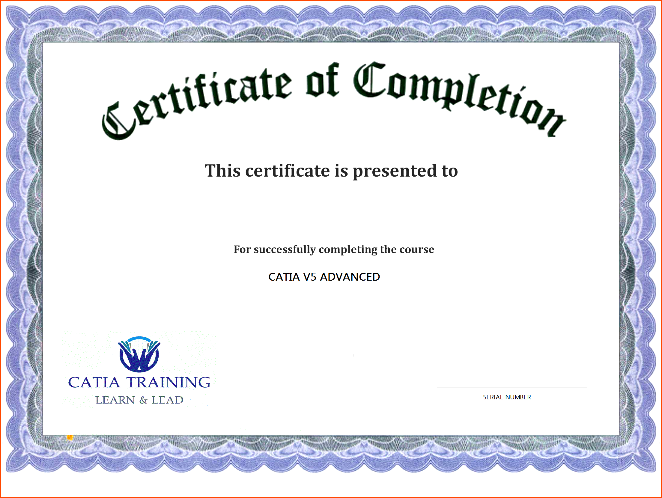 Sample of Certificate Of Completion Template