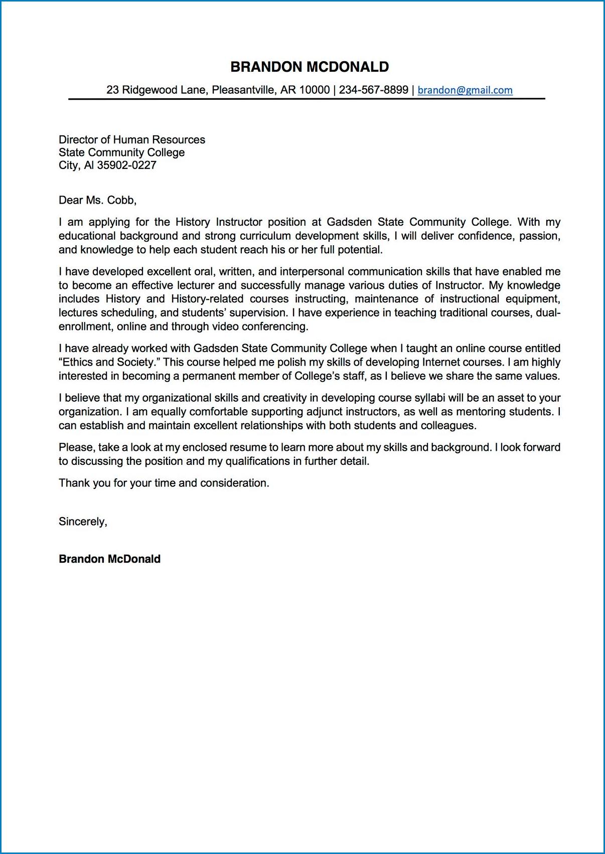 Sample of College Letter Of Interest