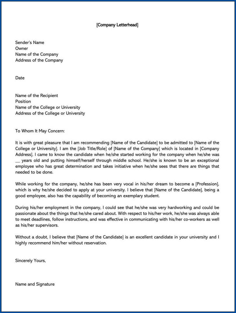 Sample of College Recommendation Letter Template