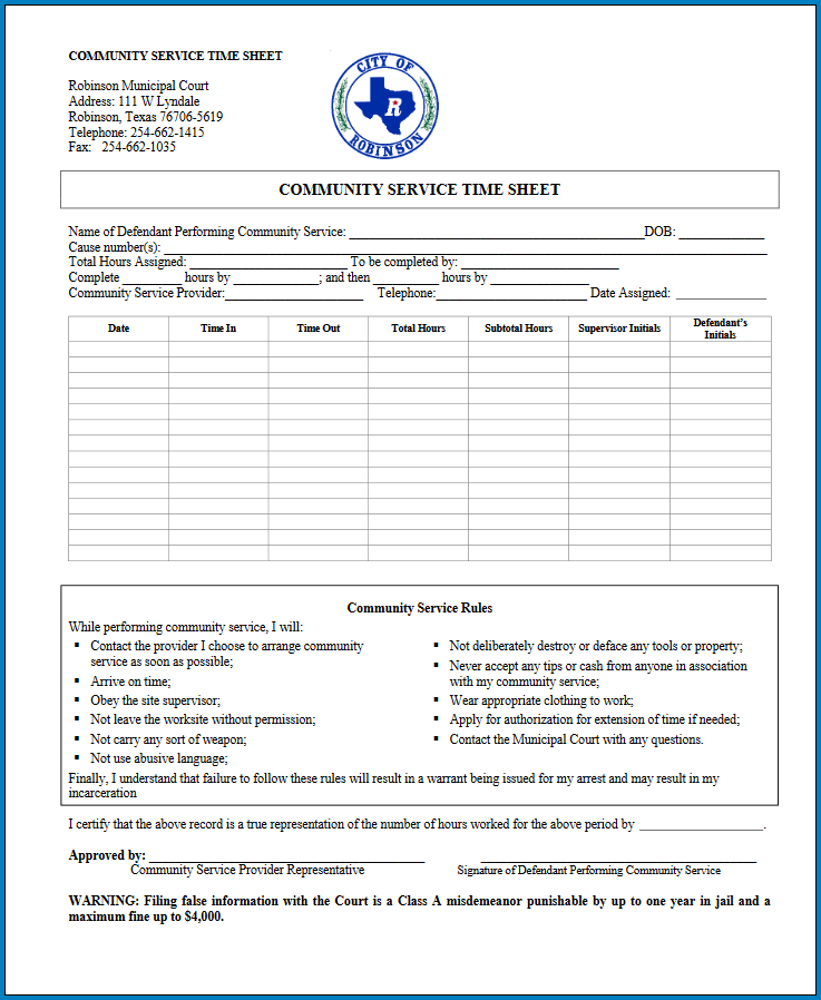 Sample of Community Service Timesheet Template