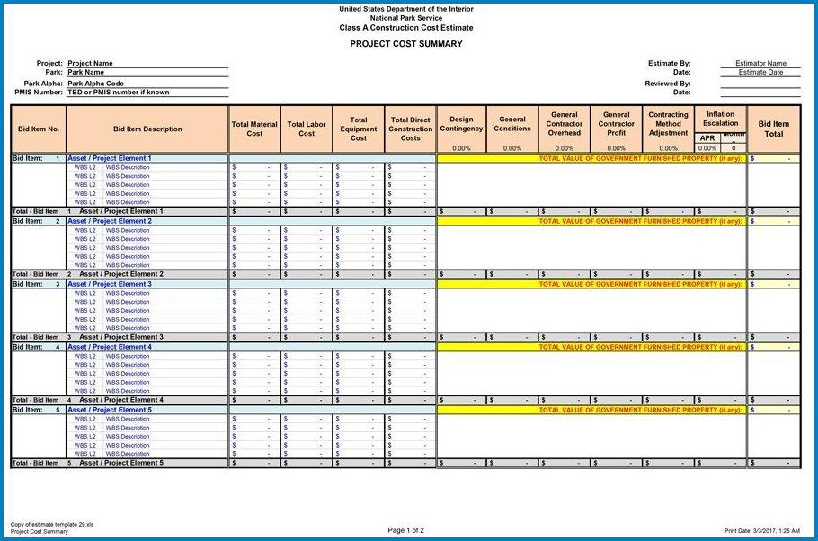 Sample of Construction Cost Estimate Template