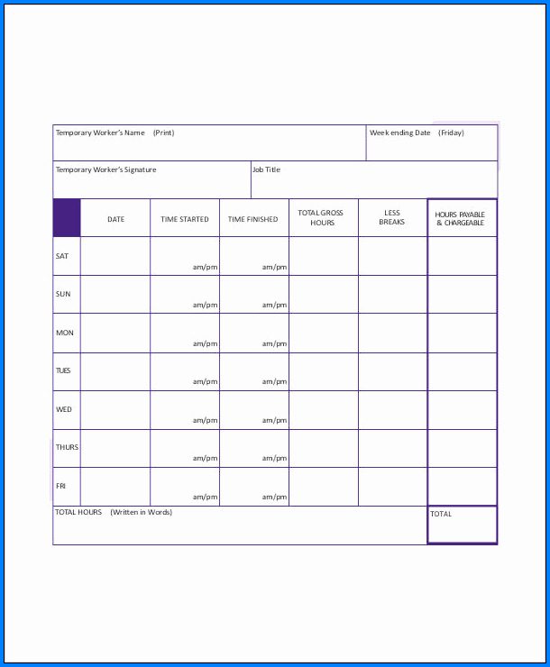Sample of Construction Timesheet Template