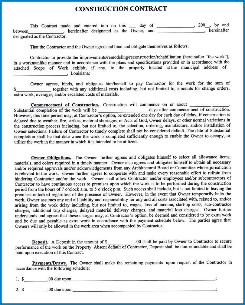 Sample of Contract Agreement For Construction Work