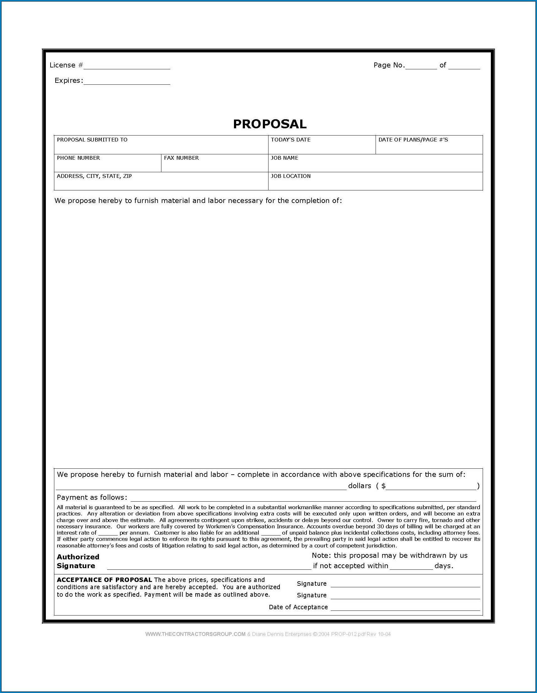 Sample of Contractor Bid Sheet Template