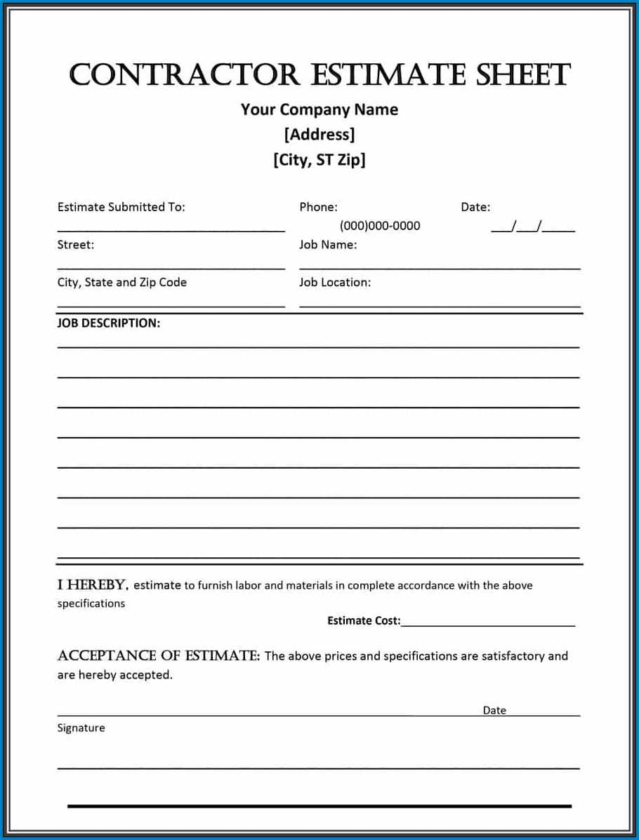 Sample of Contractor Estimate Form