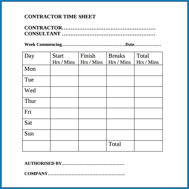Sample of Contractor Timesheet Template