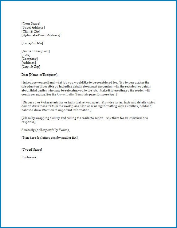 Sample of Cover Letter Template For Resume