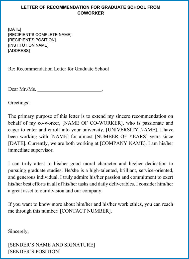 Coworker Letter Of Recommendation Template Templateral