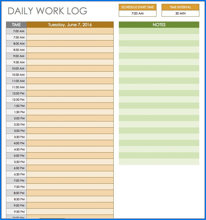 Sample of Daily Schedule Template