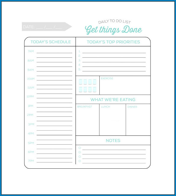 Sample of Daily Task List Template For Work