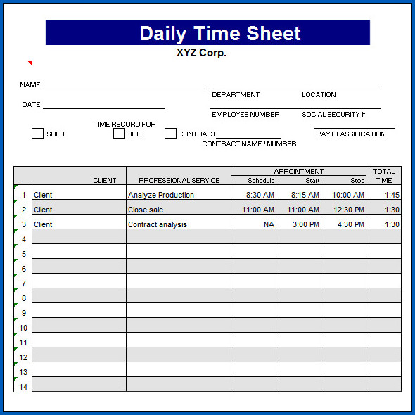Sample of Daily Timesheet Template Excel