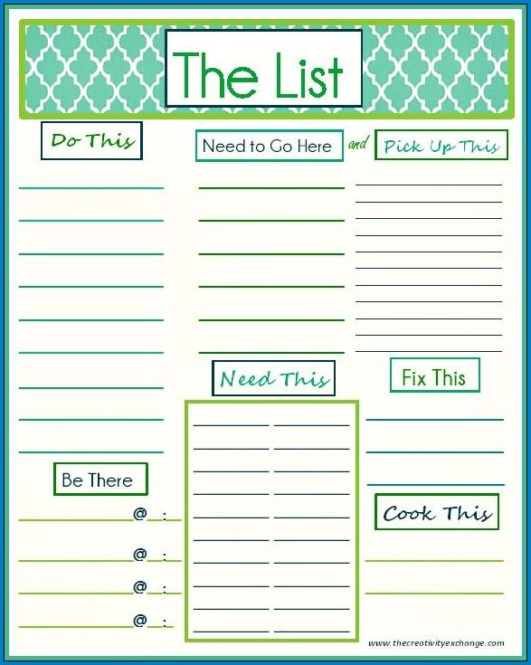 Sample of Daily To Do List Template