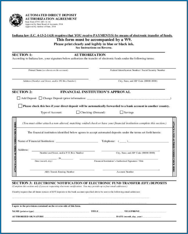 Sample of Direct Deposit Authorization Form