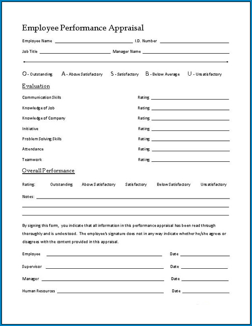 Sample of Employee Performance Appraisal Form