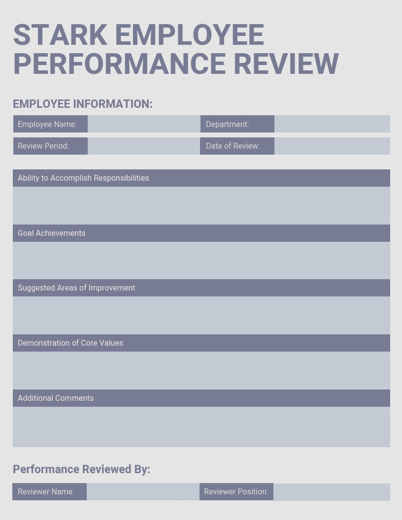 Sample of Employee Review Template