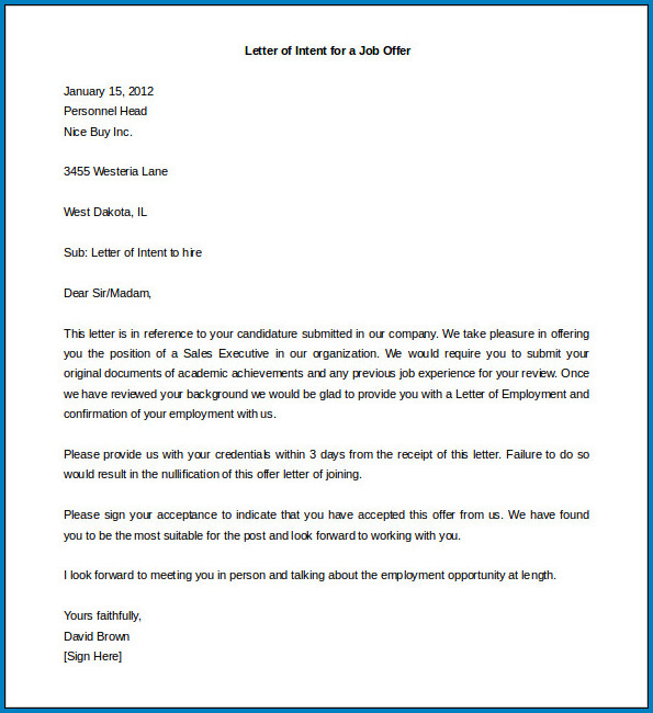 Sample of Employment Letter Of Intent Template