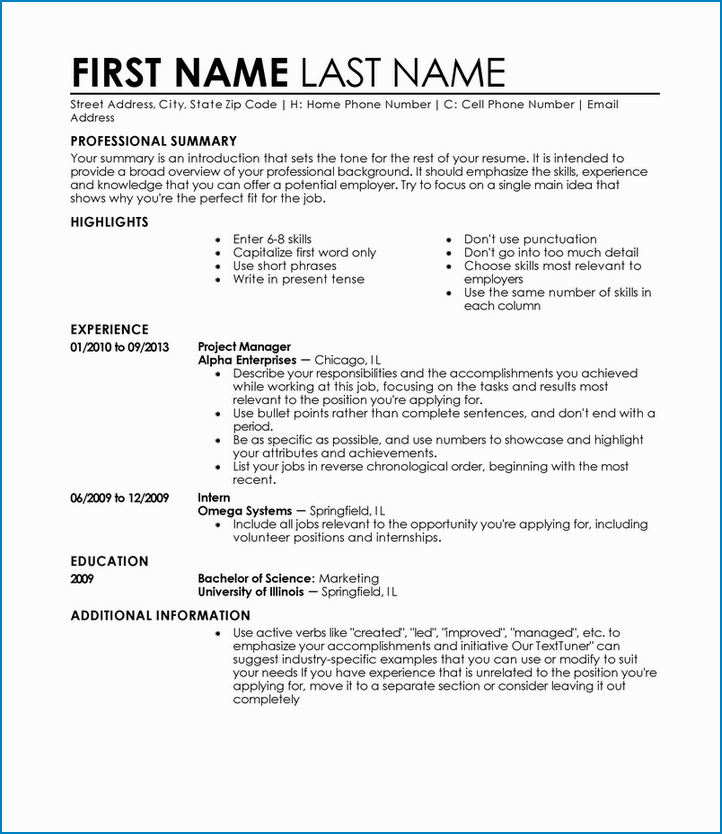 Sample of Entry Level Resume Template Word