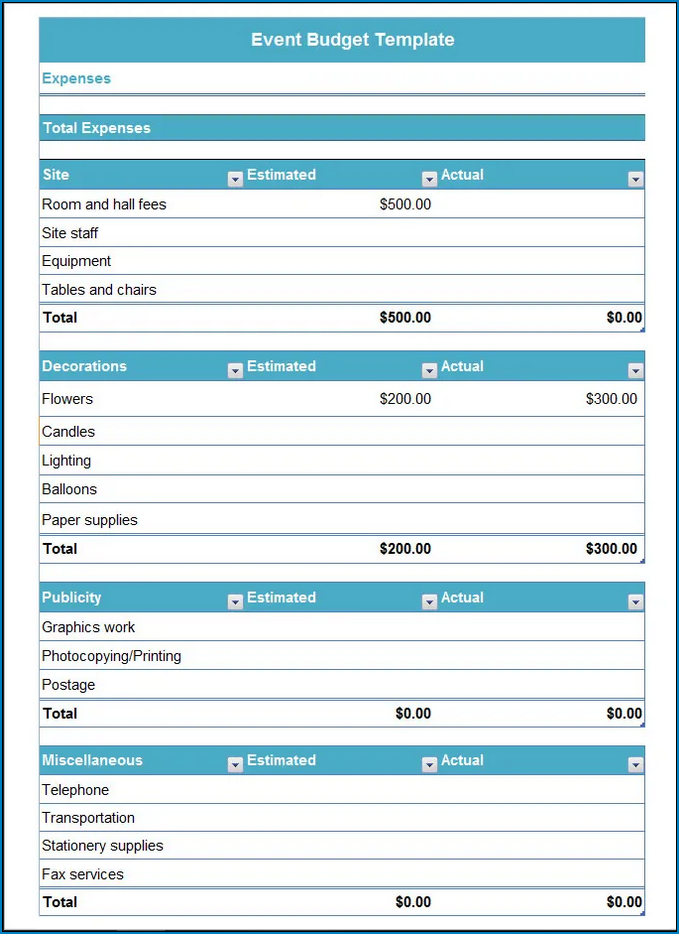 Sample of Event Planning Budget Template