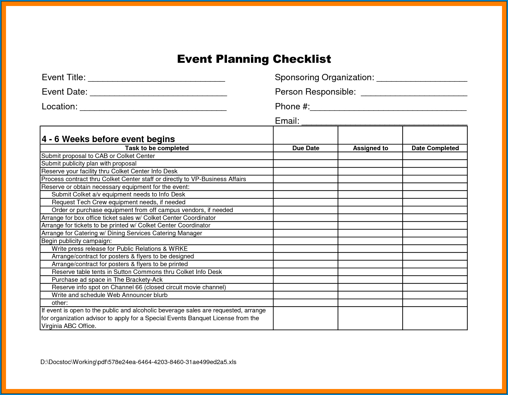 Sample of Event Planning Template