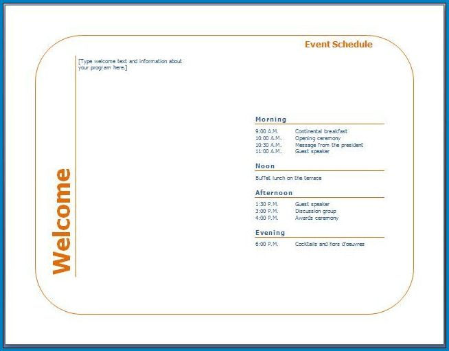 Sample of Event Program Template Word