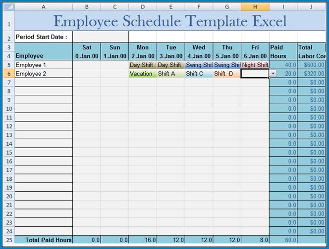 Sample of Excel Employee Schedule Template