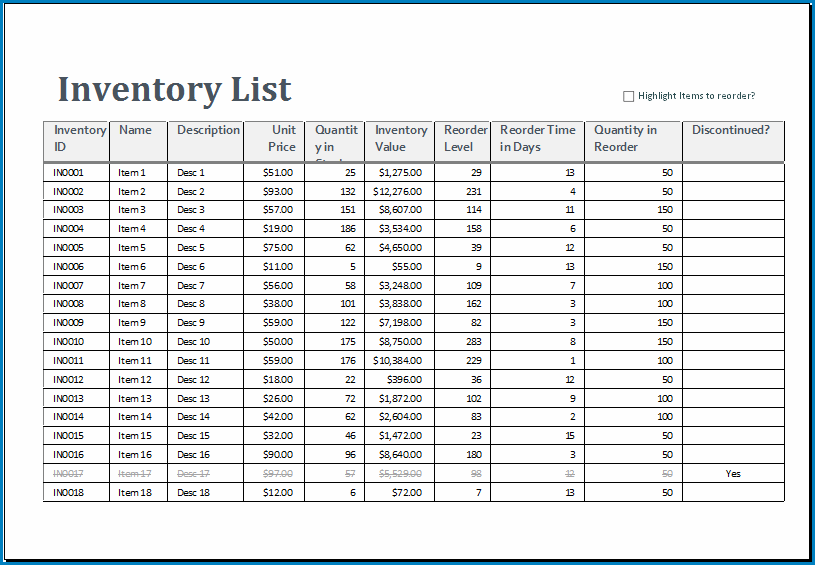 Sample of Excel Inventory Template