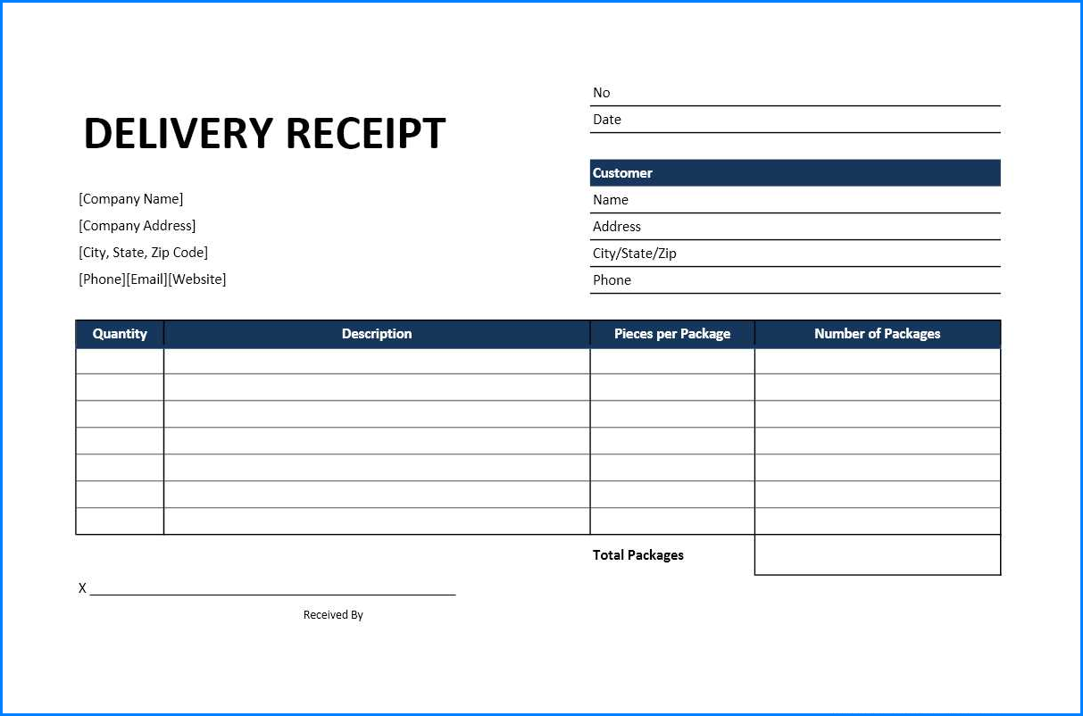Sample of Excel Receipt Template