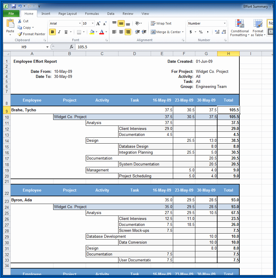 Sample of Excel Timesheet Formula With Lunch Break