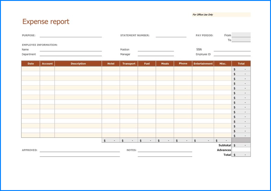 Sample of Expense Report Form