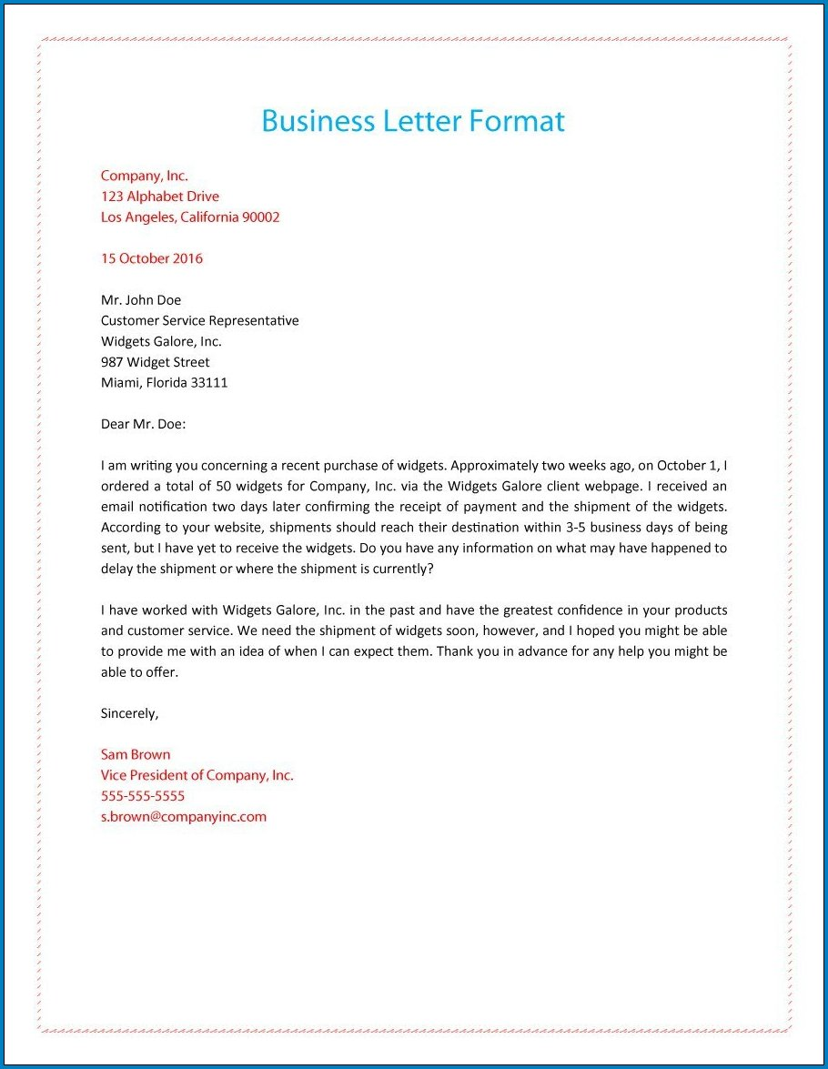 Sample of Formal Business Letter Template
