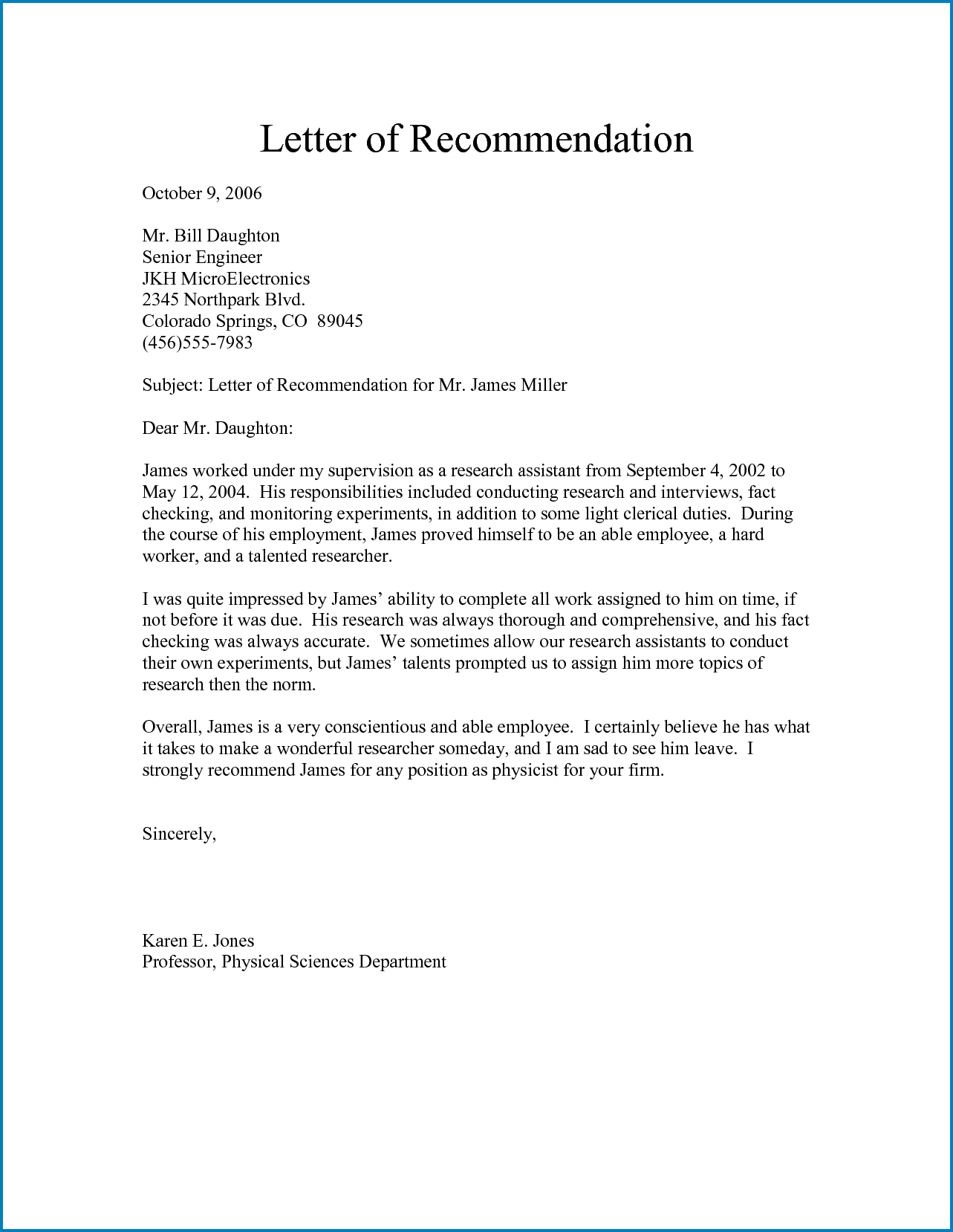 Sample of Formal Letter Of Recommendation Template