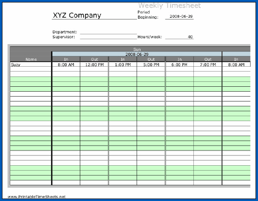 Sample of Free Excel Timesheet Template Multiple Employees