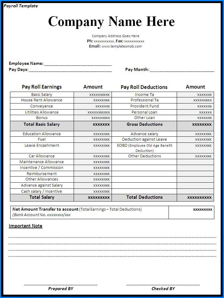 Sample of Free Payroll Template
