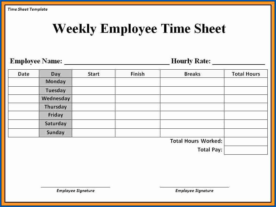 Sample of Free Printable Time Sheets PDF