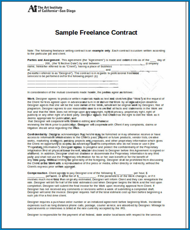 Sample of Freelance Contract Template