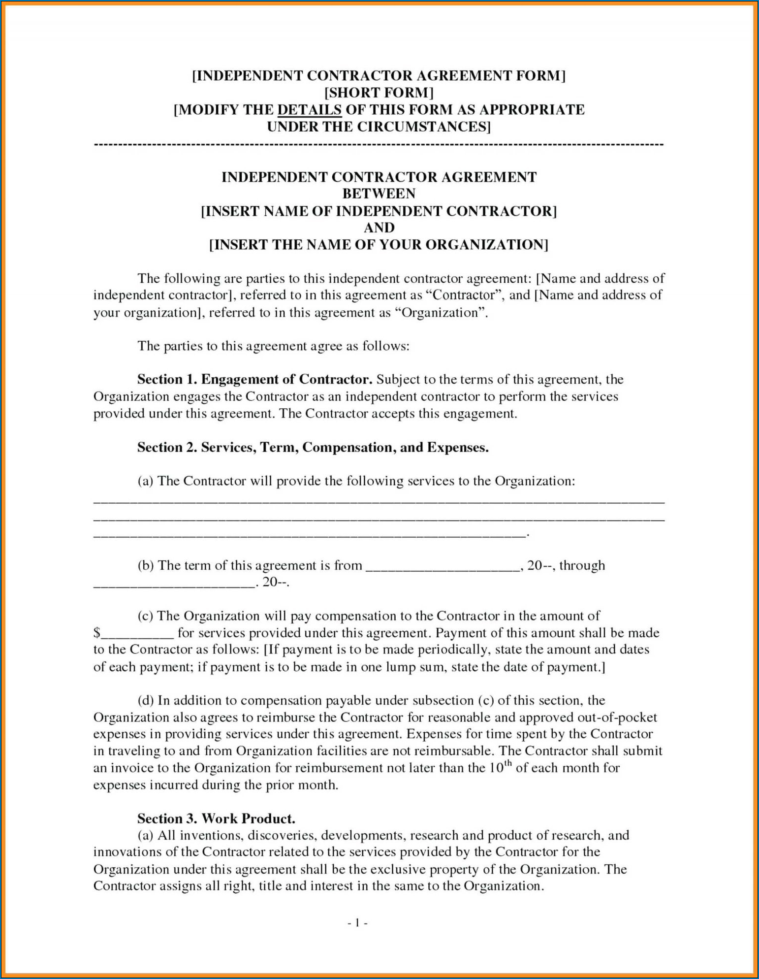 Sample of General Contractor Agreement Template
