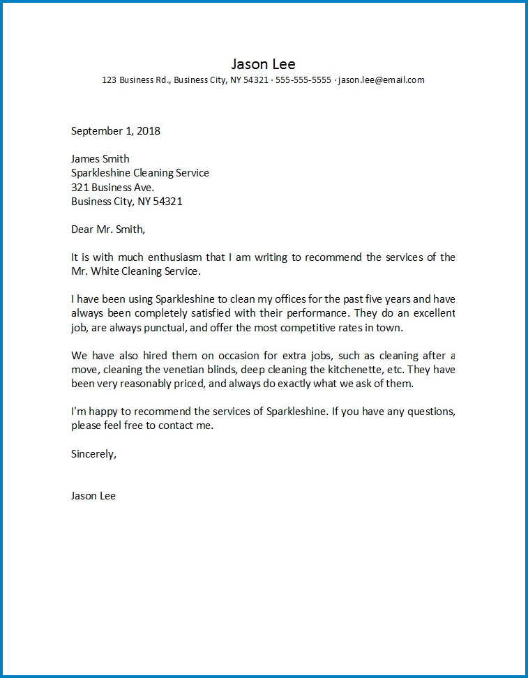 Sample of General Letter Of Recommendation Template