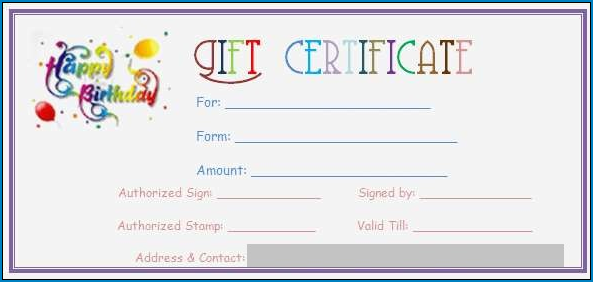Sample of Gift Certificate Template Word