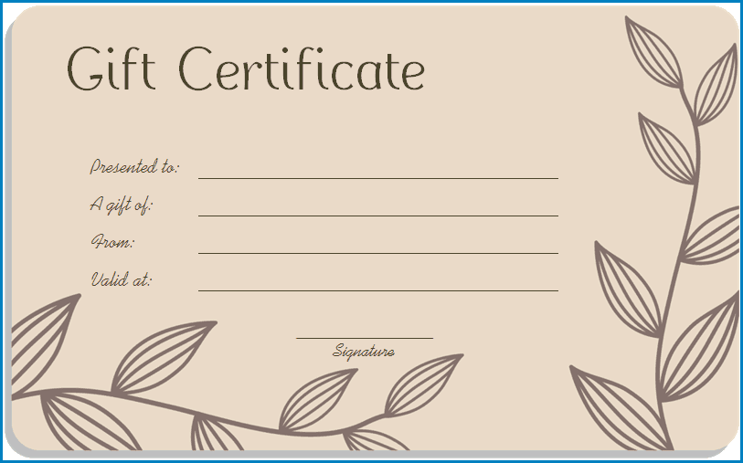 Sample of Gift Certificate Template