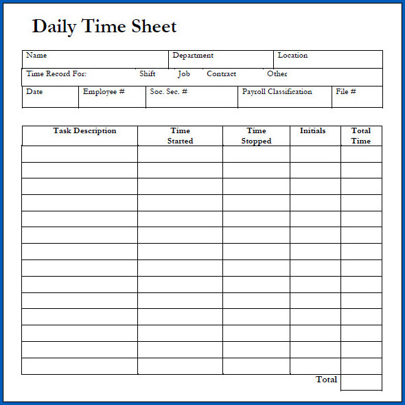 Sample of Google Sheets Daily Timesheet Template