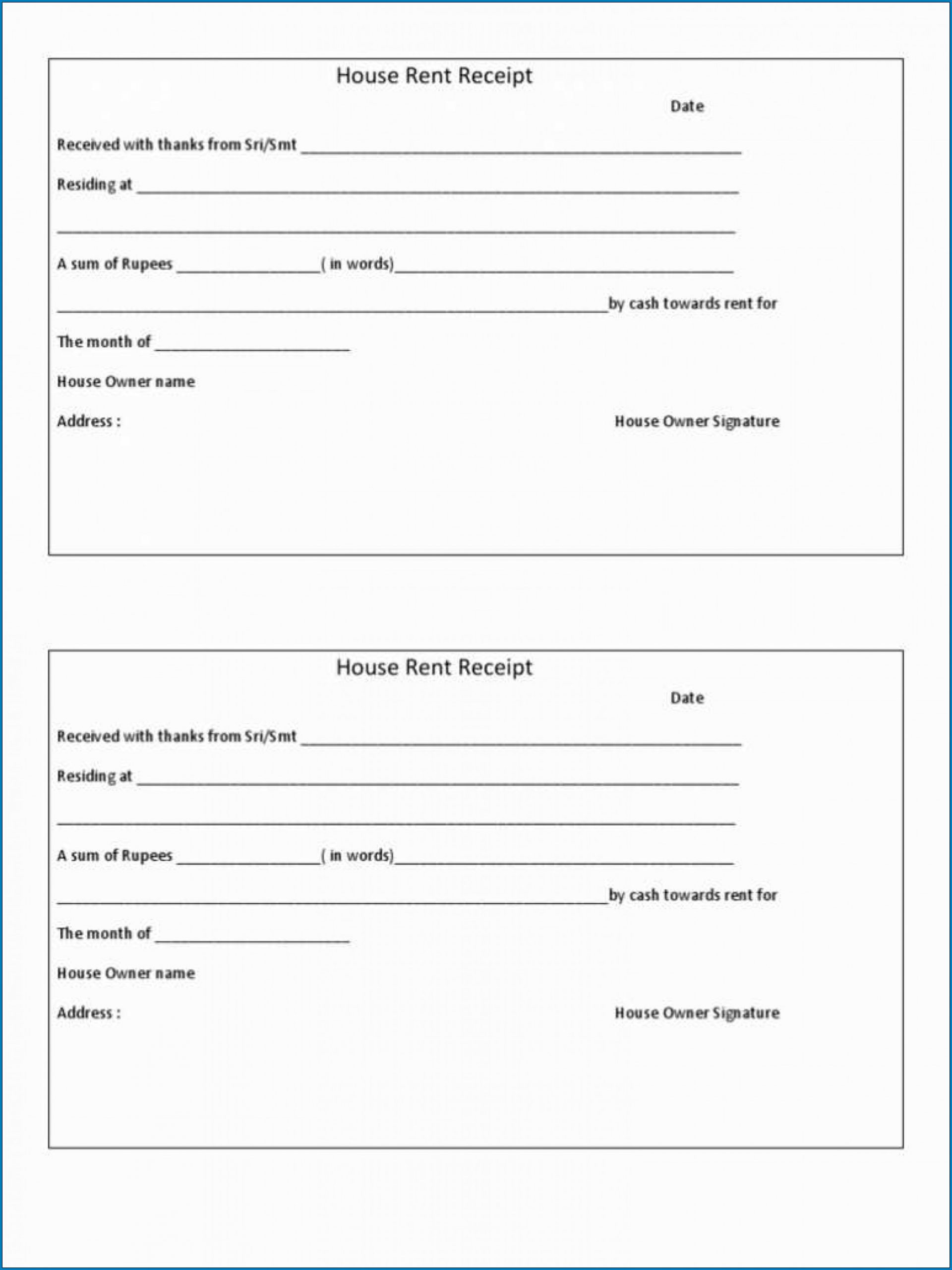 Sample of House Rent Receipt Template