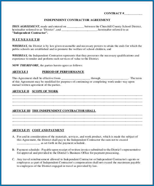 It's just an image of Free Printable Independent Contractor Agreement with regard to michigan workers compensation placement facility